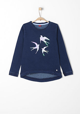 Sweater met tweezijdige pailletten