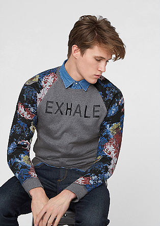 Sweater with printed sleeves from s.Oliver