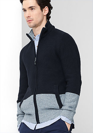 Sweatshirt jacket in a two-tone design from s.Oliver