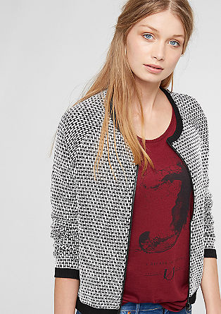 Sweatshirt jacket in mixed materials from s.Oliver