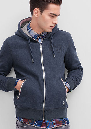 Sweatshirt jacket with a comfortable hood from s.Oliver