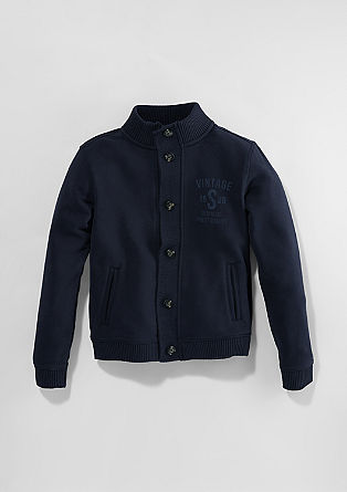 Sweatshirt jacket with a knit insert from s.Oliver