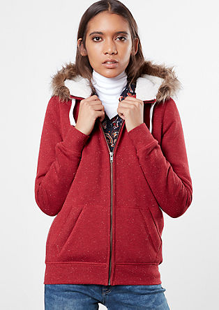 Sweatshirt jacket with a plush hood from s.Oliver