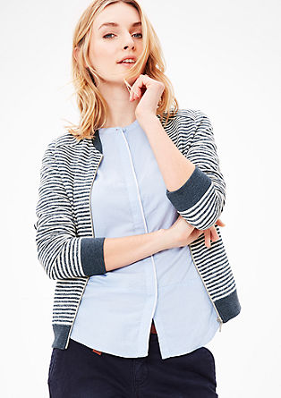 Sweatshirt jacket with a striped texture from s.Oliver