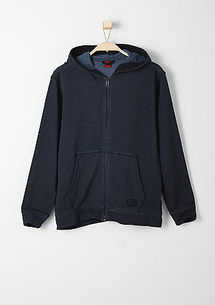 Sweatshirt jacket with a wash effect from s.Oliver