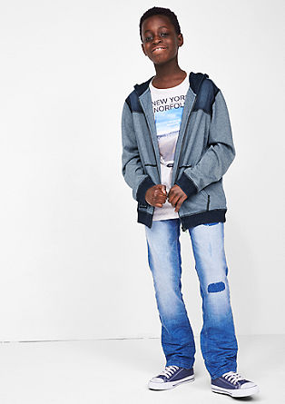 Sweatshirt jacket with fine stripes from s.Oliver