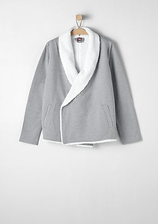 Sweatshirt jacket with teddy lining from s.Oliver