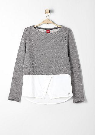 Sweatshirt met een blouseachtige zoom