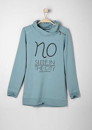 Sweatshirt met glittertekst