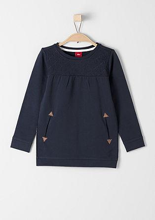 Sweatshirt met inzet met doorgestikte look