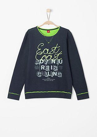 Sweatshirt met neonkleurige applicatie