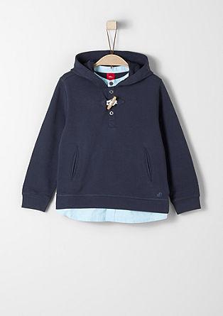 Sweatshirt met overhemddetails