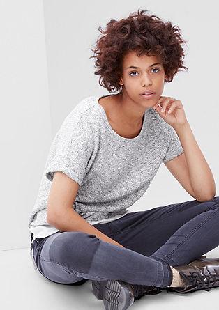 Sweatshirt pulover s kratkimi rokavi in detajlom v slogu bluze