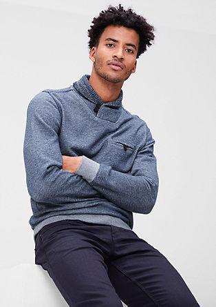 Sweatshirt pulover s pletenim ovratnikom