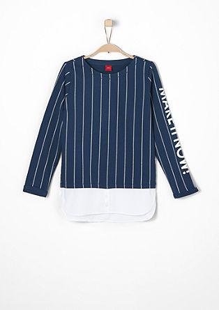 Sweatshirt pulover večplastnega videza