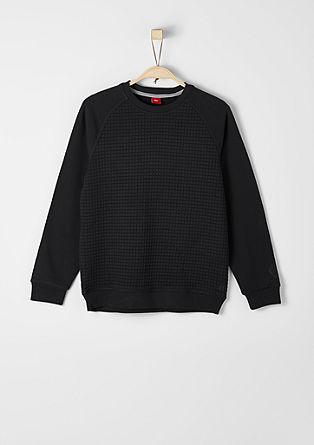 Sweatshirt pulover z mešano teksturo