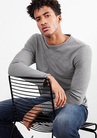 Sweatshirt pulover z obrabljenimi detajli