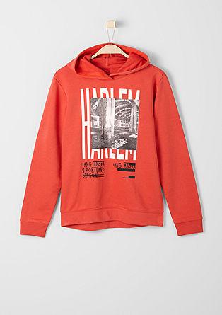 Sweatshirt s kapuco in fototiskom