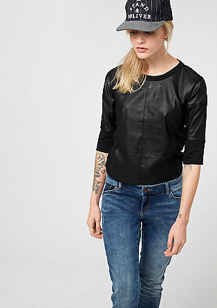 Sweatshirt with a leather-look front from s.Oliver