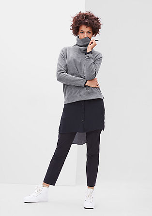 Sweatshirt with a zip-up polo neck from s.Oliver