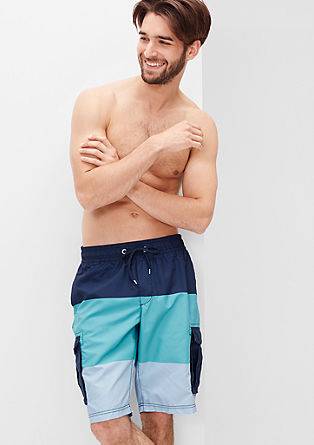 Swim shorts with block stripes from s.Oliver