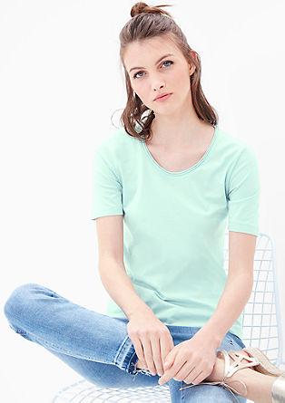 T-shirt met een rolzoom bij de hals