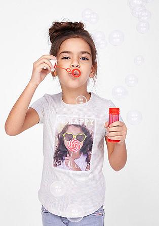 T-shirt met glitterstrepen