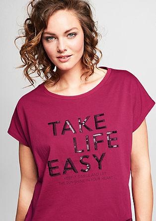 T-shirt met print en pailletjes