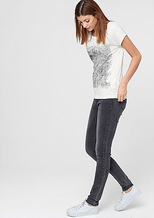 T-Shirt mit Metallic-Print