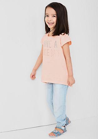 T-Shirt mit Nieten-Schriftzug