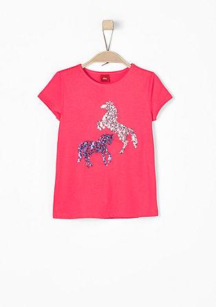 T-Shirt mit Pailletten-Pferden
