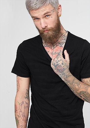 T-Shirt mit Struktur-Streifen
