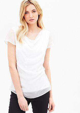 T-Shirt mit Wasserfall-Ausschnitt