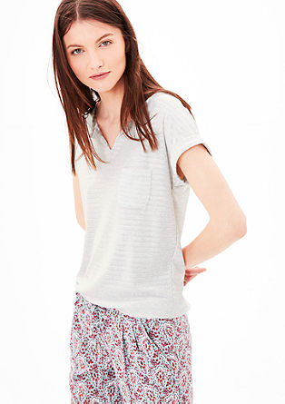 T-shirt with a striped texture from s.Oliver