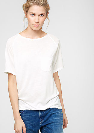 T-shirt with crêpe details from s.Oliver