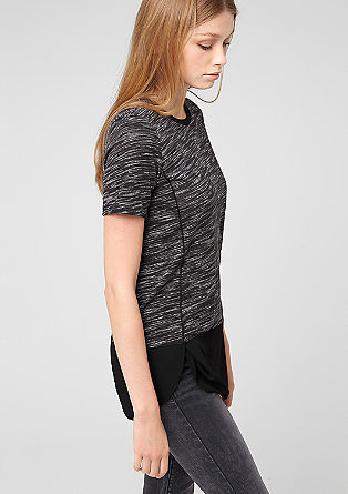 T-shirt with crêpe layering from s.Oliver