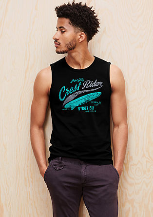 Tank top with printed lettering from s.Oliver