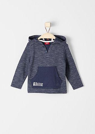 Tanko črtasta majica s kapuco