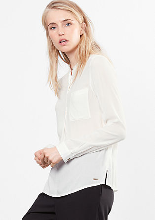 Textured blouse with a stand-up collar from s.Oliver
