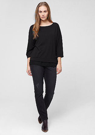 Textured top with chiffon from s.Oliver