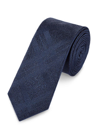 Tone-in-tone check silk tie from s.Oliver