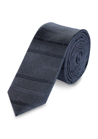 Tone-in-tone striped silk tie from s.Oliver