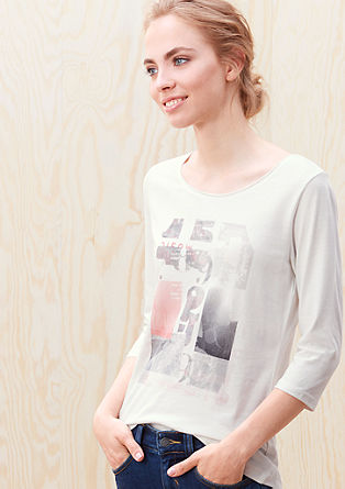Top with a collage print and 3/4-length sleeves from s.Oliver