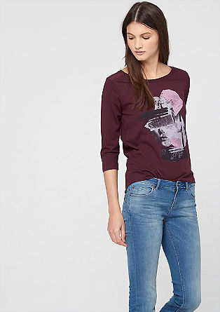 Top with a front print and 3/4-length sleeves from s.Oliver