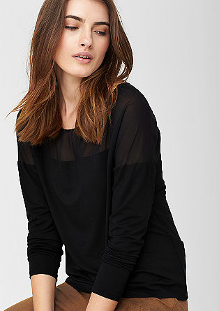 Top with a sheer yoke from s.Oliver
