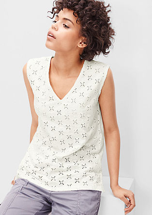 Top with an openwork lace front from s.Oliver