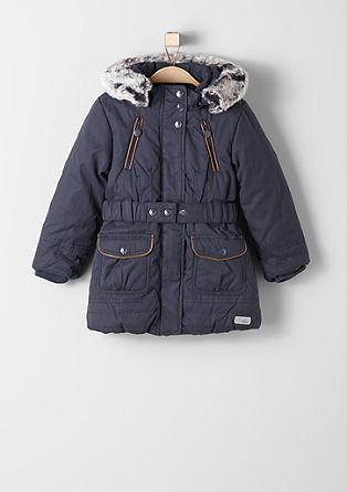 Topel zimski plašč z umetnim krznom