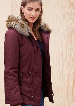 Topla jakna s kapuco iz umetnega krzna