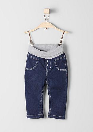 Tople jeans hlače z rebrastim pasom