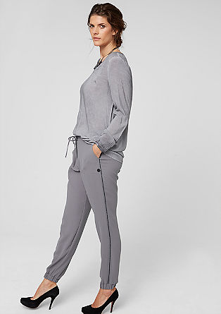 Tracksuit bottoms in crêpe from s.Oliver